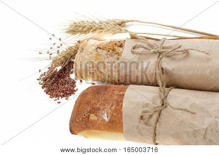 bread and linseed isolated on white background