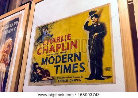 Turin, Italy - January 01, 2016: interior view with Modern Times poster in National Museum of Cinema in Turin Italy. The Museum is one of the most important of its kind in the world.