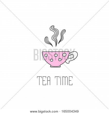 Hand drawn illustration of polka dot tea cup with tea. Tea time greeting card or invitation template for your design. Vector illustration of hand drawn sketch.