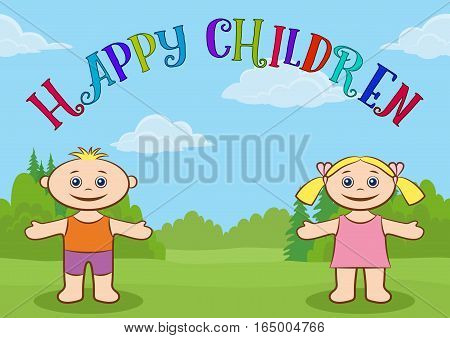 Funny Cartoon Children on Forest Glade, Happy Little Boy and Girl in Colorful Clothes, Standing on Green Meadow with Arms Wide Open and Smiling. Vector
