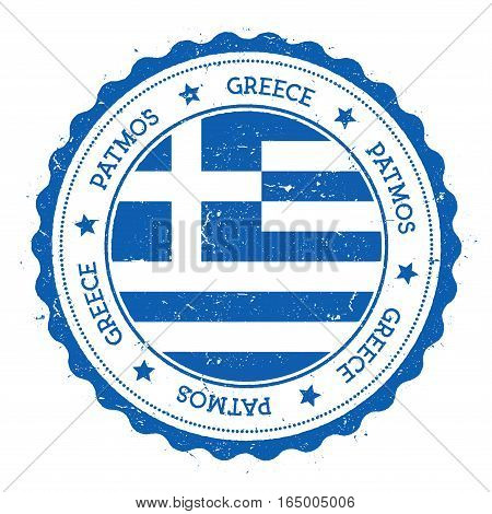 Patmos Flag Badge. Vintage Travel Stamp With Circular Text, Stars And Island Flag Inside It. Vector