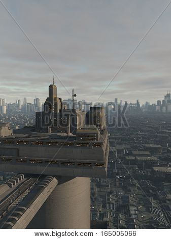 Science fiction illustration of the view of a future city from a high tower, digital illustration (3d rendering)