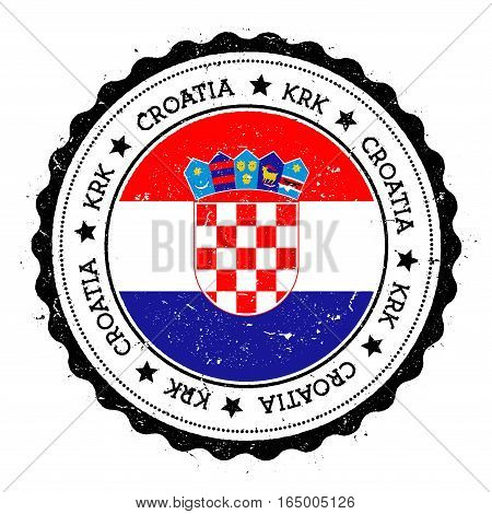 Krk Flag Badge. Vintage Travel Stamp With Circular Text, Stars And Island Flag Inside It. Vector Ill