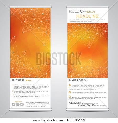 Roll up, vertical banner for presentation and publication. Abstract background