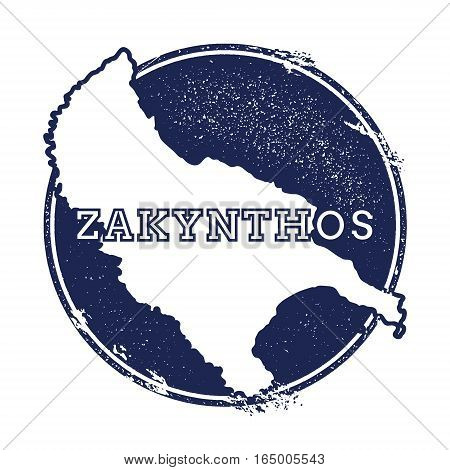 Zakynthos Island Vector Map. Grunge Rubber Stamp With The Name And Map Of Island, Vector Illustratio
