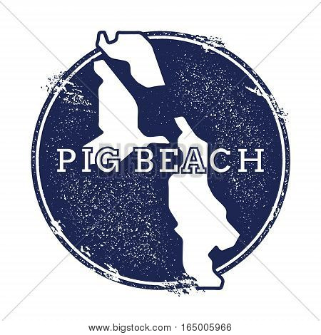 Pig Beach Vector Map. Grunge Rubber Stamp With The Name And Map Of Island, Vector Illustration. Can