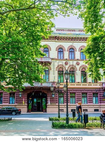 ODESSA UKRAINE - MAY 17 2015: The historical hotel Londonskaya is one of the most notable landmarks of the city on May 17 in Odessa.