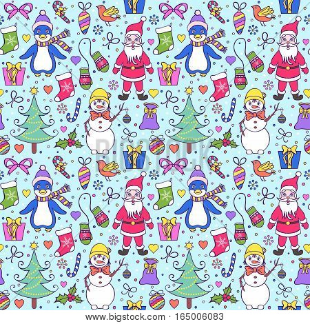 Illustration of colorful seamless christmas pattern.Winter background