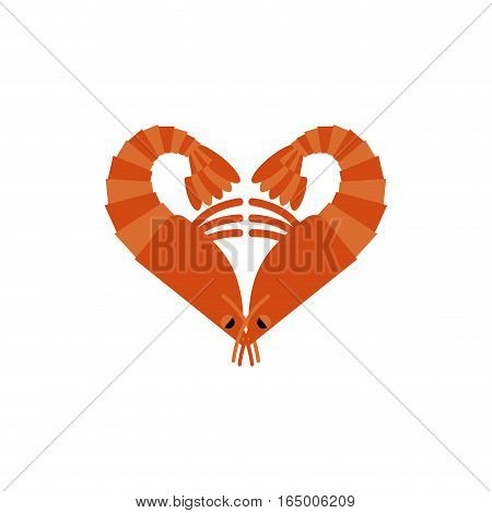 Shrimps Love Isolated. Heart Of Plankton On White Background