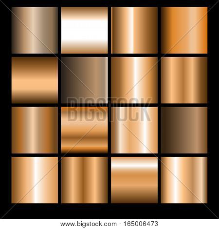 Collection of bronze backgrounds. Set of bronze gradients.Vector illustration