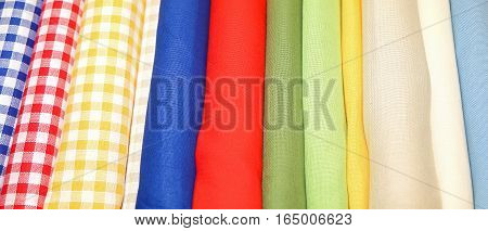 Colorful Cloth For Sale On The Shelves Of Haberdashery