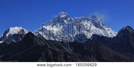 View from Renjo La mountain pass. Mount Everest and Lhotse.