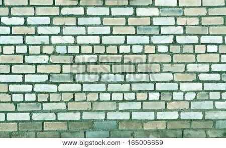 Old Brick Wall Texture In Cyan Tone.