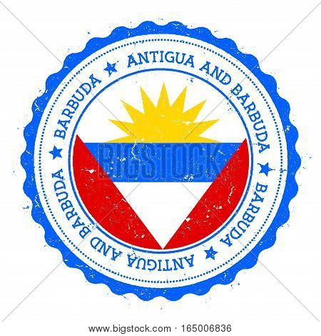 Barbuda Flag Badge. Vintage Travel Stamp With Circular Text, Stars And Island Flag Inside It. Vector