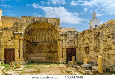 The St Peter's basilica is the archaeological site of Byzantine period in the old town of El Kef Tunisia.