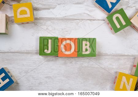 Job Word With Colorful Blocks