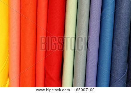 Vast Assortment Of Colorful Fabric In The Fashion Store