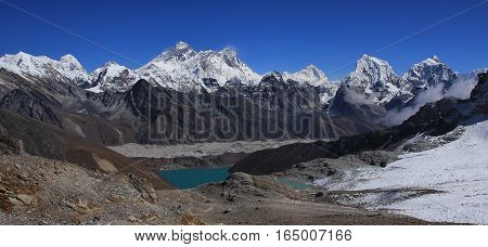 Turquoise Gokyo lake. Ngozumpa glacier. Mount Everest Lhotse Cholatse and other high mountains in the Everest National Park. View from Renjo La mountain pass.
