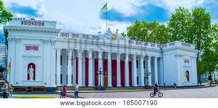 ODESSA UKRAINE - MAY 17 2015: The huge cityhall building is a pearl of the city architecture on May 17 in Odessa.