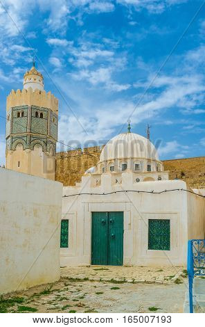 The mosque of Sidi Abdallah Boumakhlouf boasts the beautiful octagonal minaret El Kef Tunisia.