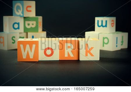 Work Word With Colorful Blocks