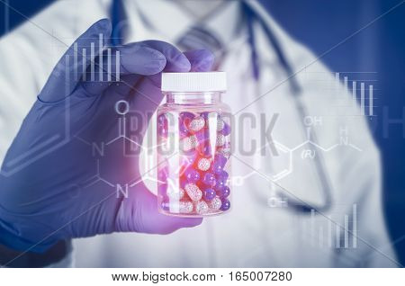 Doctor Scientist Invented New Drug, Holds Capsule In Hands