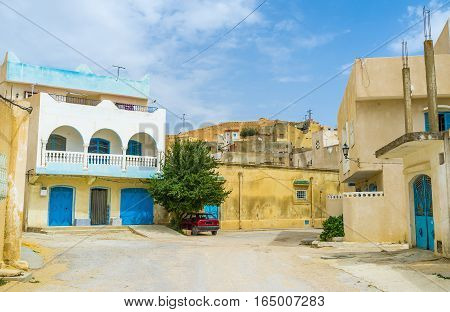 The old town of El Kef consists of maze of streets with traditional arabic houses Tunisia.