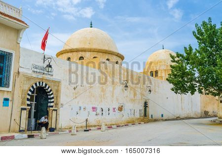 EL KEF TUNISIA - SEPTEMBER 5 2015: The Ethnographical Museum located in the large mosque in the old town on September 5 in El Kef.