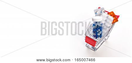 Set Of Drugs In A Miniature Shopping Trolley