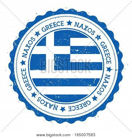 Naxos Flag Badge. Vintage Travel Stamp With Circular Text, Stars And Island Flag Inside It. Vector I