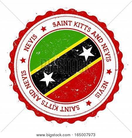 Nevis Flag Badge. Vintage Travel Stamp With Circular Text, Stars And Island Flag Inside It. Vector I