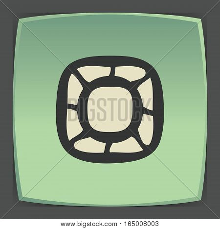Vector outline empty plate or bowl icon on green flat square plate. Elements for mobile concepts and web apps. Modern infographic logo and pictogram.