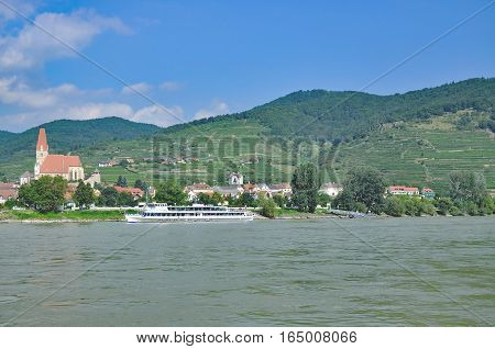 Wine Village of Weissenkirchen at Danube River in Wachau,Austria