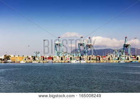 ALGECIRAS, SPAIN - SEPTEMBER 24: Container terminal in the industrial port of Algeciras in, Andalusia, Spain on September 24, 2016.