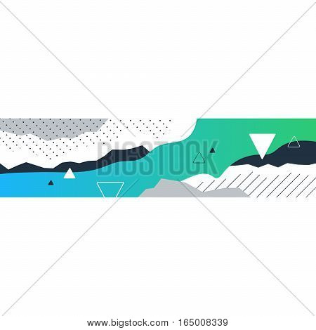 Abstract background with gradient and triangles, horizontal bar for decoration, modern design, minimalistic creative collage