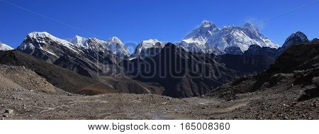 View from Renjo La mountain Pass. Mount Everest Lhotse and other high mountains.