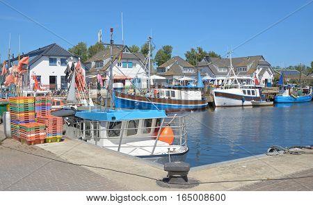 Harbor of Vitte on Hiddensee Island at baltic Sea,Mecklenburg western Pomerania,Germany