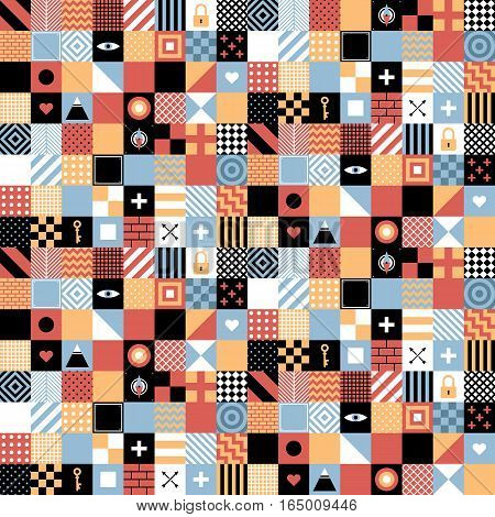 Seamless Geometric Pattern In Flat Style With Squares And Small Icons. Useful For Wrapping, Wallpape