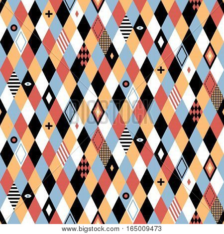 Seamless Geometric Pattern In Flat Style With Colorful Rhombuses. Useful For Wrapping, Wallpapers An