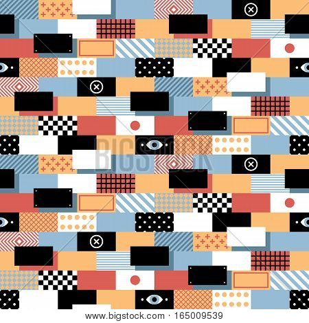 Seamless Geometric Pattern In Flat Style With Colorful Bricks. Useful For Wrapping, Wallpapers And T