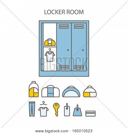 Locker icon set.  Spot icons.  Modern vector plain simple line design icons and pictograms set.