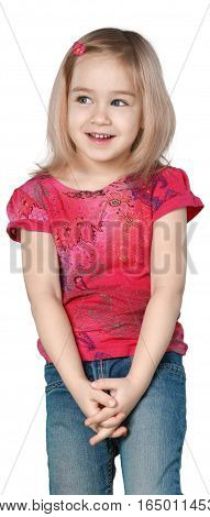 Shy Little Girl with Medium Blond Hair Standing with Hands Clasped - Isolated