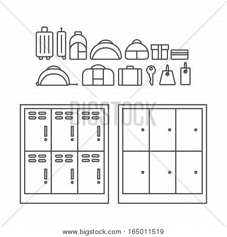 Baggage storage. Pointer With Luggage, Suitcase, Traveling Bag or Baggage Shop Sign Isolated on White Background.
