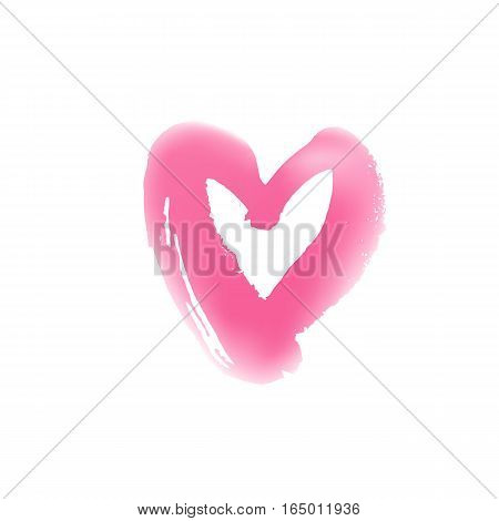 Blurr hand drawn heart symbol. Vector illustration. Icon for Valentines Day cards. Grunge shape design. Love emblem. Light.