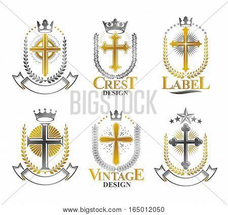 Christian Crosses emblems set. Heraldic vector design elements collection. Retro style label heraldry logo.