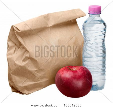 Paper Lunch Bag with Red Apple and Water Bottle - Isolated