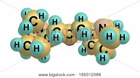 Cuscohygrine is a pyrrolidine alkaloid found in coca. Cuscohygrine usually occurs along with other more potent alkaloids such as atropine or cocaine. 3d illustration