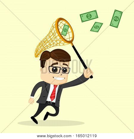 Vector businessman or manager holds a net. Man in business suit. Business man chasing money and smiling. The man in cartoon style isolated.