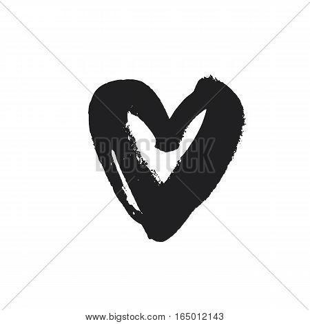 Black hand drawn heart icon. Vector illustration. Symbol for Valentines Day cards. Grunge design.