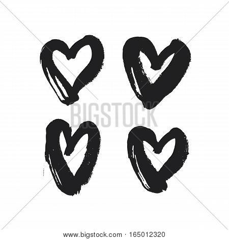 Black hand drawn heart icon set. Vector illustration. Symbols collection for Valentines Day cards. Grunge design.